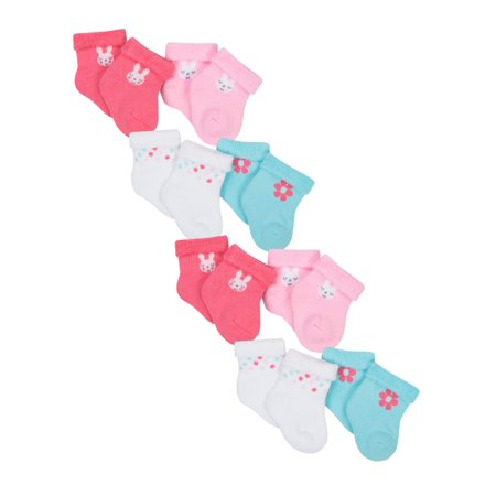 Gerber Organic Cotton Wiggle Proof Bootie Socks, 8-Pack (Baby Girls)
