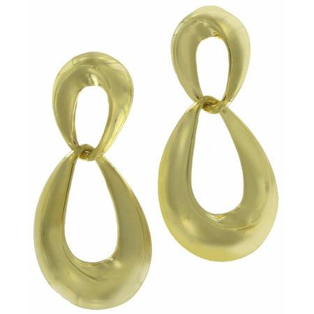 Double Loop Gold Tone Door Knocker Pierced Earrings (Gold Double Loop)