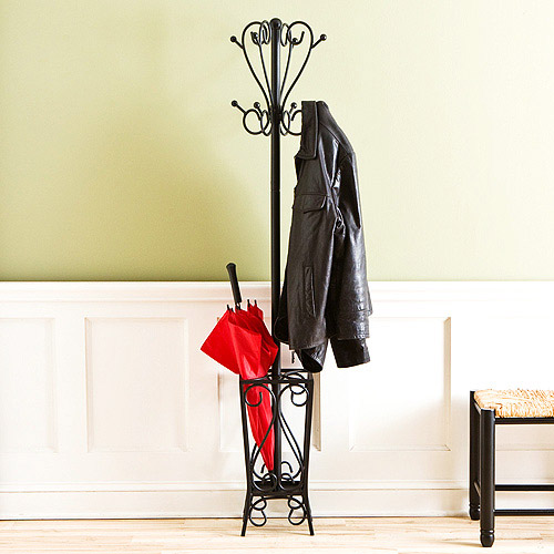 Southern Enterprises Scrolled Standing Coat Rack and Umbrella Stand