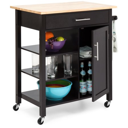 Best Choice Products Utility Kitchen Island Cart with Wood Top, Drawer, Shelves and Cabinet for Storage,
