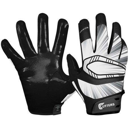 Cutters Mens Football Receiver Glove - Cutters Rev Pro Receiver Gloves (Black, XL, 2-Pack)