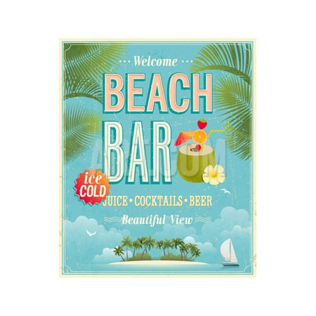 Beach Vintage Poster (Vintage Beach Bar Poster Print Wall Art By)