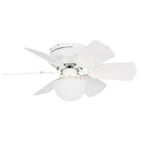 Litex BRC30WW6C Vortex 30-Inch Ceiling Fan with Six Reversible White/Whitewash Blades and Single Light kit with Opal Mushroom Glass Blade 30 Inch Ceiling Fan