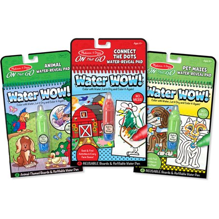 Melissa & Doug On the Go Water Wow! Water-Reveal Activity Pads Set - Animal, Connect the Dots, Pet Mazes (Wow Halloween Pets)