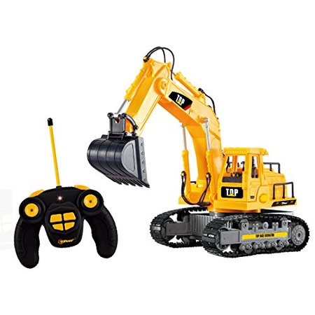 Top Race 7 Channel Full Functional Rc Excavator  Battery Powered Electric Rc Remote Control Construction Tractor With Lights   Sound  Tr 111