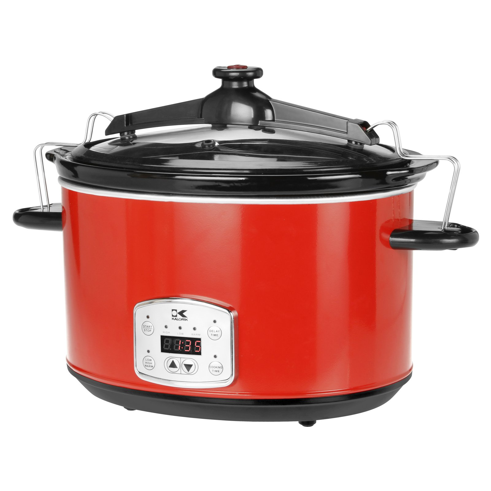 Kalorik 8-Qt Digital Slow Cooker with Locking Lid, Red