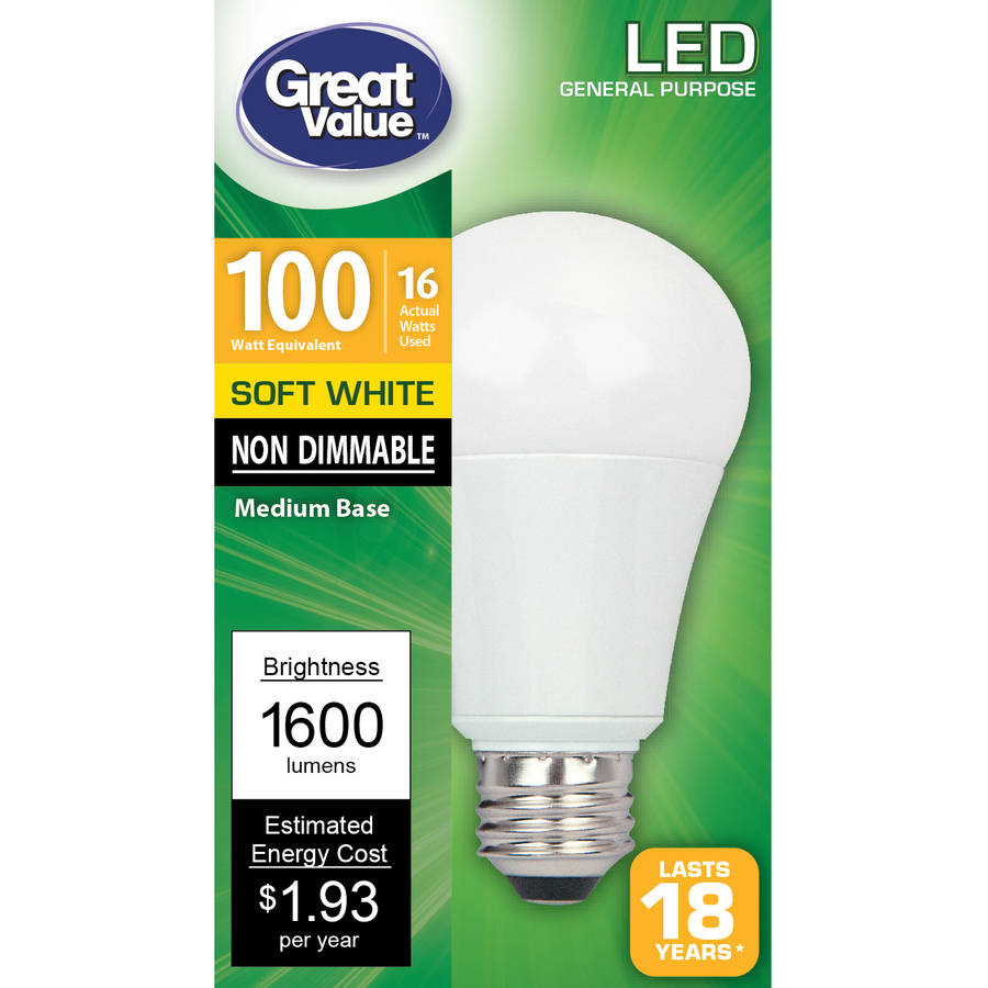 Great Value LED Light Bulb, Soft White, Non Dimmable, 16W (100W Equivalent)