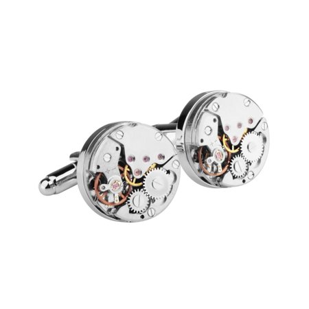 Mens Watch Movement Steampunk Vintage Wedding Party Gift Novelty Shirt Silver Cuff links Cufflinks