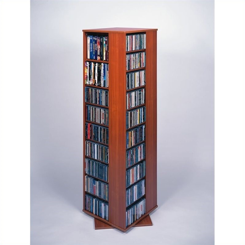 "Leslie Dame 62"" CD DVD Spinning Tower in Cherry"