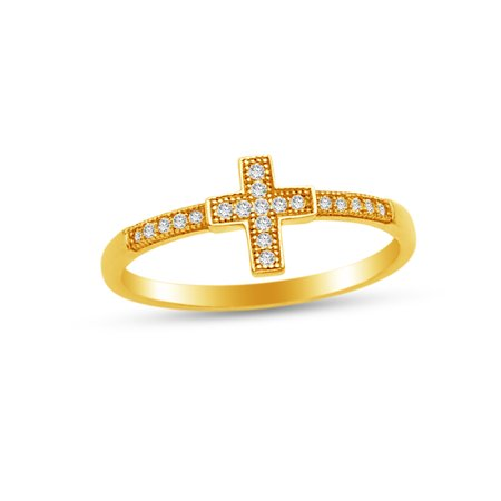 Series Hand Cross (Solid 14k Yellow Gold Religious Cross Crucifix Right Hand Fashion Ring, CZ Cubic Zirconia , Size)
