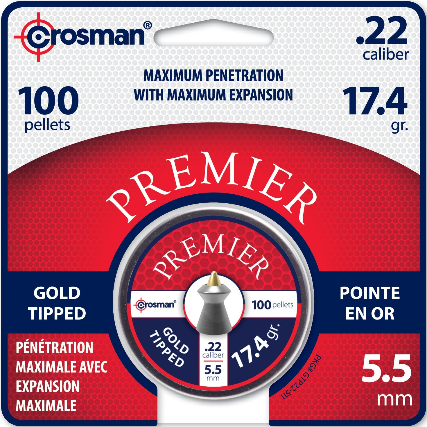 Crosman .22 Pellet GTP22 Ammunition Gold Tipped 17.4 Grain, 100 Count by Crosman