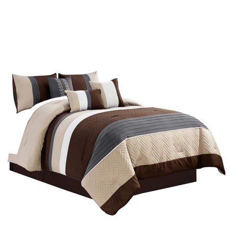WPM 7 Piece Modern Design Comforter Set Multicolor Grey/Coffee Brown/Beige Taupe Embroidered Bed in a Bag Professional Bedding Set-Leni (Queen) ()
