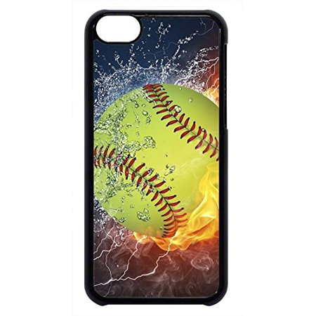 Ganma Softball Theme Sport Fan Rubber Silicon Black Case Cover Case For iPhone