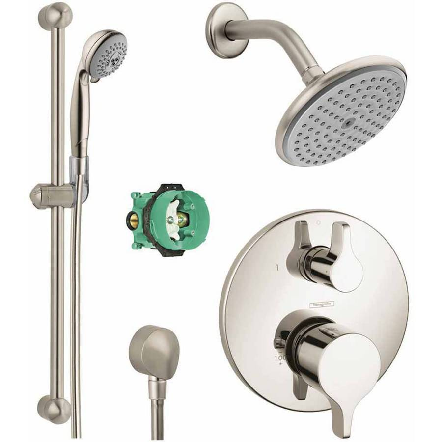 Hansgrohe KSH04448-04343-94PC Raindance Shower Faucet Kit with Handshower Wallbar PBV Trim with Diverter and Rough-In, Various Colors
