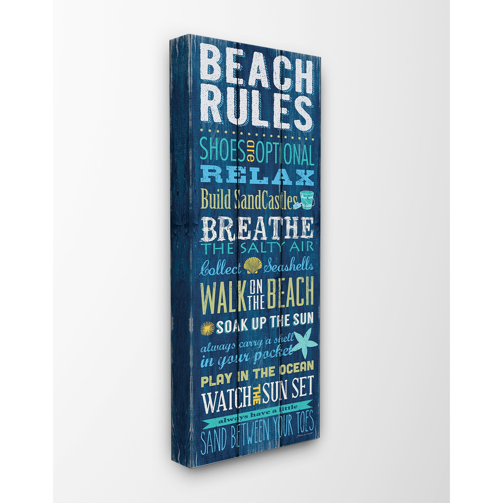 The Stupell Home Decor Collection Beach Rules Relax Breathe Blue Planked Look Oversized Stretched Canvas Wall Art, 13 x 1.5 x 30