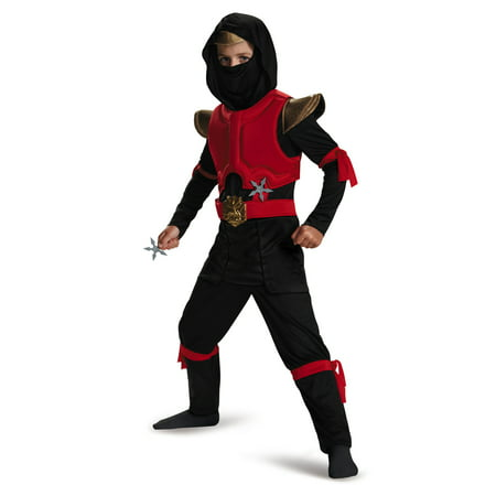Red And Black Fire Ninja Warrior Deluxe Boys Halloween Costume (Black And Red Costumes)