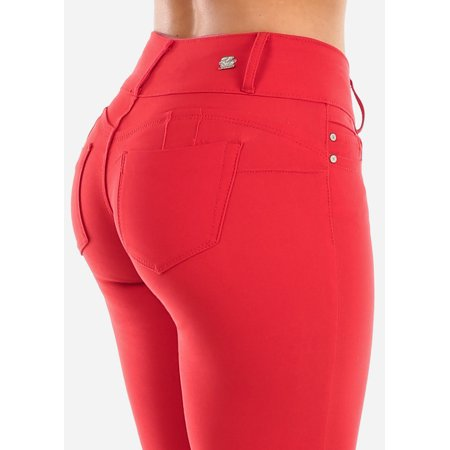 Womens Skinny Pants Butt Lifting Low Rise Red 11012B Womens Low Rise Sport Pant