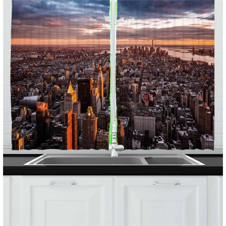 Usa Curtains 2 Panels Set  Aerial View Of The Manhattan Skyline At Sunset Famous Financial District Nyc  Window Drapes For Living Room Bedroom  55W X 39L Inches  Blue Orange White  By Ambesonne
