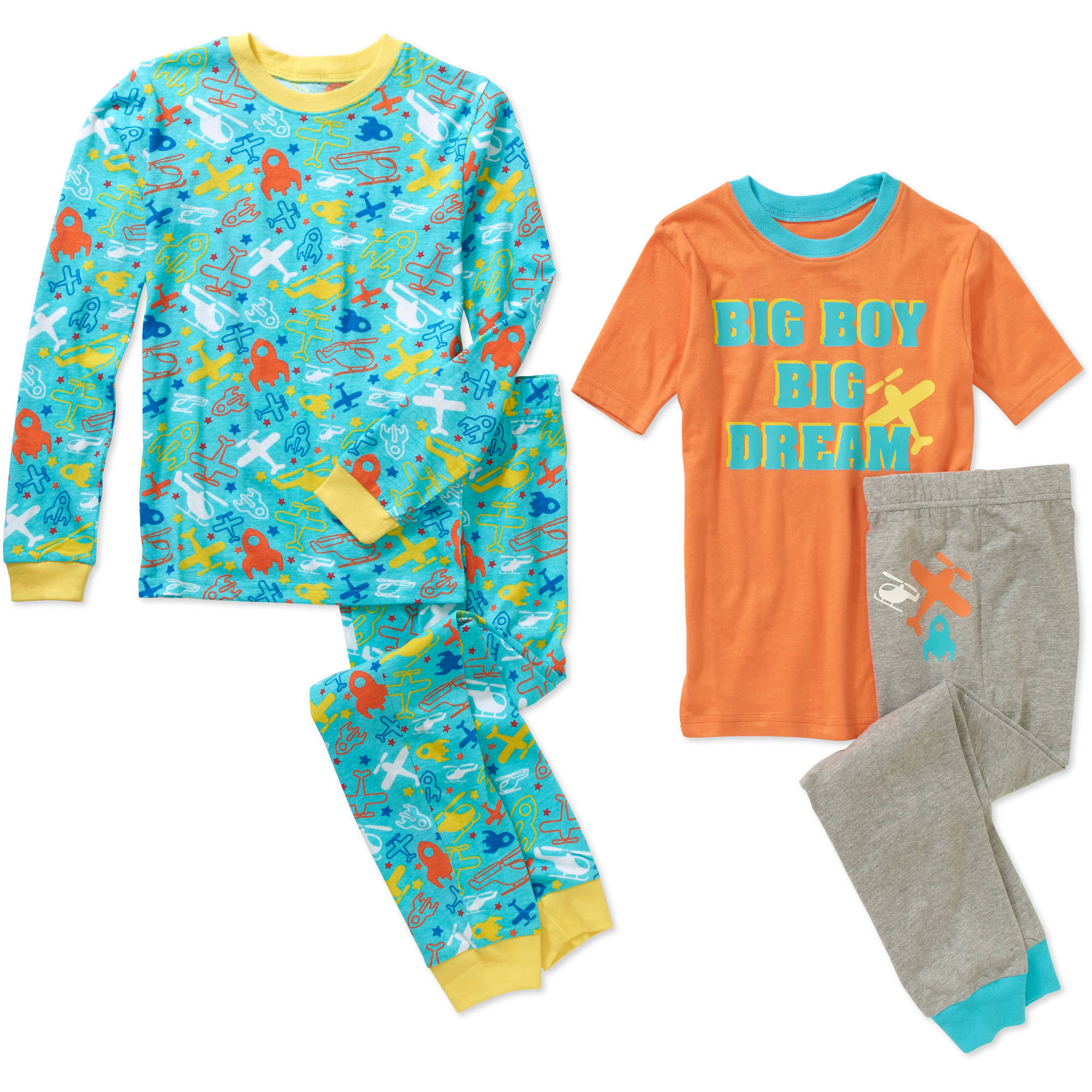 Boys' 4 Piece Cotton Pajama Sleepwear Set, Available in 6 Prints