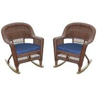 Jeco Wicker Rocker Chair in Honey (Set of 2)