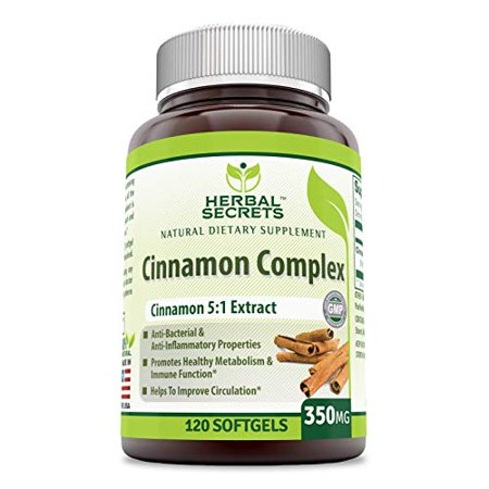 Herbal Secrets Cinnamon Complex - 350 Mg, 120 Soft gels - Anti-Bacterial & Anti-Inflammatory Properties - Promotes Healthy Metabolism & Immune Function- Helps to Improve (Circulation Booster Best Price)