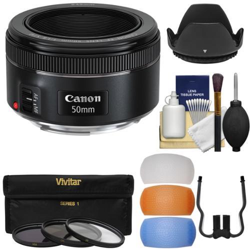 Canon EF 50mm f/1.8 STM Lens + 3 Filters + Hood + Diffusers Kit for EOS 6D, 70D, 7D, 5DS, 5D Mark II III, Rebel T3, T3i, T5, T5i, T6i, T6s, SL1 Camera