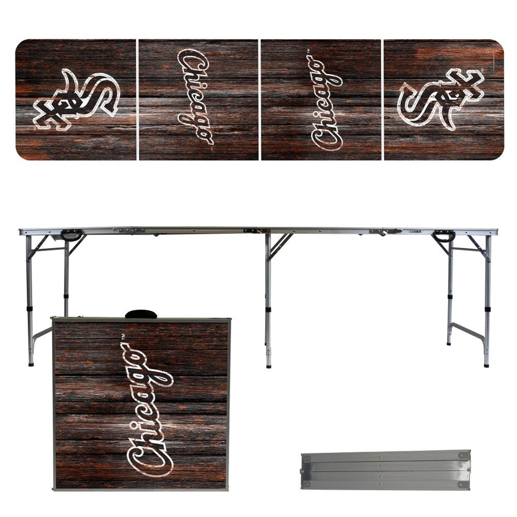 Chicago White Sox Weathered Design 8' Portable Folding Tailgate Table - No Size