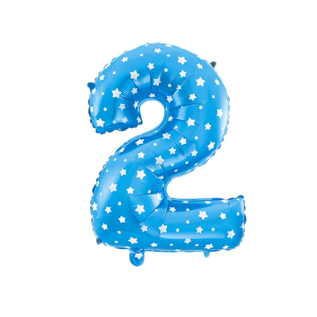 "Unique Bargains 16"" Blue Foil Number 2 Shape Balloon Helium Birthday Wedding Decor"