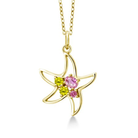 0.38 Ct Oval Pink Sapphire Canary Diamond 18K Yellow Gold Plated Silver - Pink Sapphire Yellow Necklace