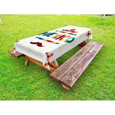 Mexican Outdoor Tablecloth, Mexico Traditional Aztec Motifs and Sombrero Straw Hat and Moustache Graphic Print, Decorative Washable Fabric Picnic Tablecloth, 58 X 104 Inches, Multicolor, by Ambesonne](Straw Table)