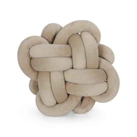 Velvet Knot - Jasmine Modern Soft Velvet Boom Hitch Knot Pillow, Charcoal
