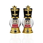 Nutcracker Toy Soldier Globe Gold and Silver Salt & Pepper Shakers, Set of 2