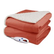 Biddeford Luxuriously Soft Electric Heated Micro Mink and Sherpa Throw Blanket