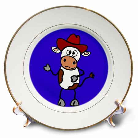 3dRose Funny Brown and White Cow in Red Cowboy Hat , Porcelain Plate, - Cow Plates