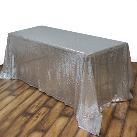 Silver Sequin Tablecloth (Efavormart LUXURY COLLECTION Duchess Sequin Rectangle Tablecloth 90