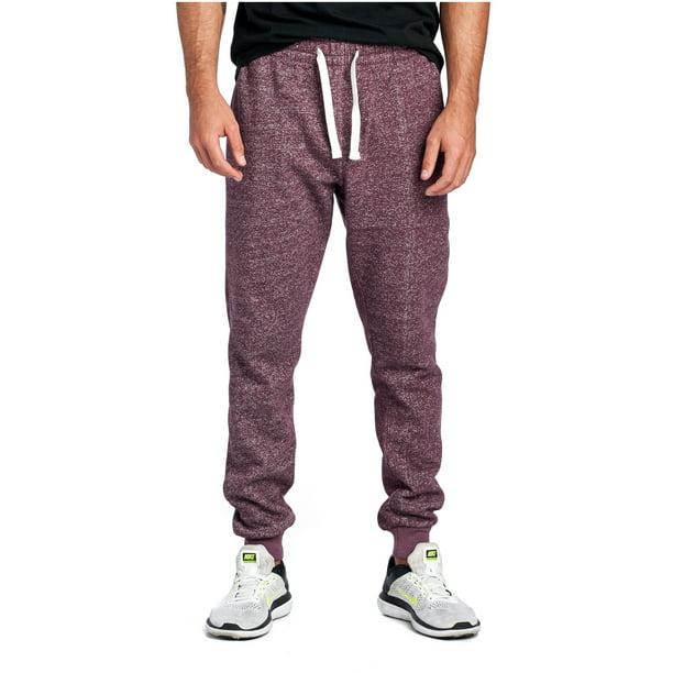 ProGo Mens Joggers Sweatpants Basic Fleece Marled Jogger Pant Elastic Waist