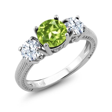 2.85 Ct Round Green Peridot 925 Sterling Silver 3 Stone Ring