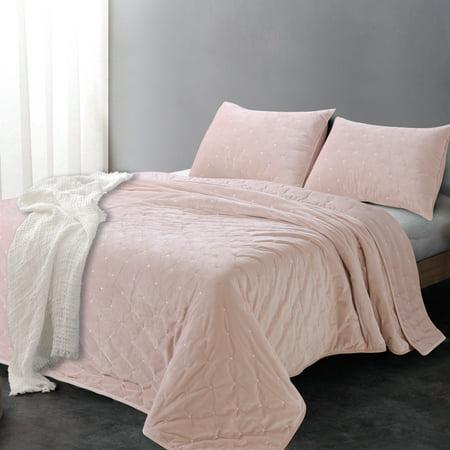 Sleeping Partners Luxe Embroidered Dot Microfiber Velvet 3 Piece Quilt Set, King, Blush Pink