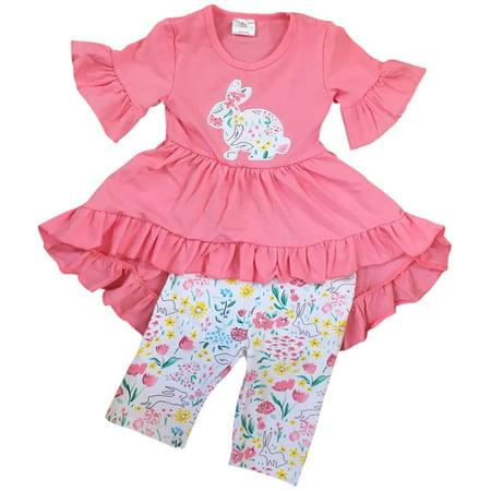 Bunny Clothes For Girls (Little Girl Kids Short Sleeve Ruffles Rabbit Bunny Floral Short Capris Set Pink 2T XS 201207 BNY)