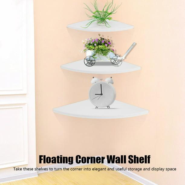 Corner Wall Shelves,3Pcs White Floating Wall-Mounted Storage Rack Bookshelves Home Furniture Office Decor