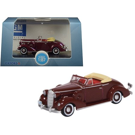 1936 Buick Special Convertible Coupe Cardinal Maroon 1/87 (HO) Scale Diecast Model Car by Oxford Diecast (Buick Special Convertible)