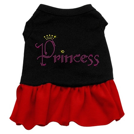Image of Mirage 57-06 SMBKRD Princess Rhinestone Dog Dress Black With Red Sm