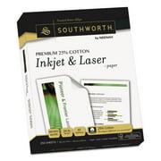 Southworth Premium 25% Cotton Paper 24lb 97 Bright 8 1/2 x 11 Wicked White 250 Sheets J344C