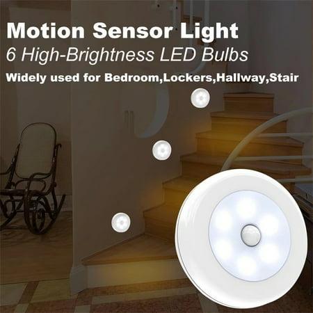Stick-On Night Light, White LED, Motion Sensor, Stick-Anywhere, Closet Light, Wall Light for Bedroom, Bathroom, Kitchen, Hallway, Stairs, Energy Efficient