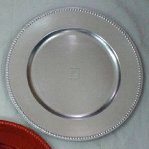 SET OF 12 SILVER CHARGER PLATES WITH BEADED RIM