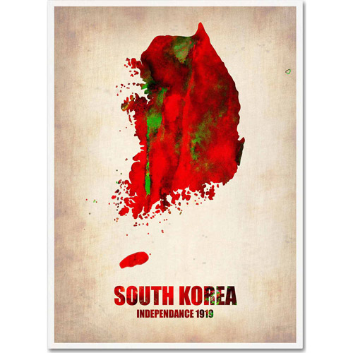 "Trademark Fine Art ""South Korea Watercolor Map"" Canvas Art by Naxart"