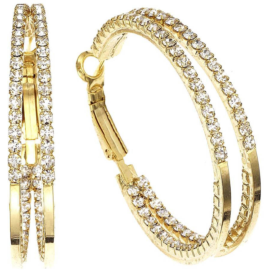X & O Handset Austrian Crystal 40mm Gold-Plated Two-Row Inside-Out Earrings