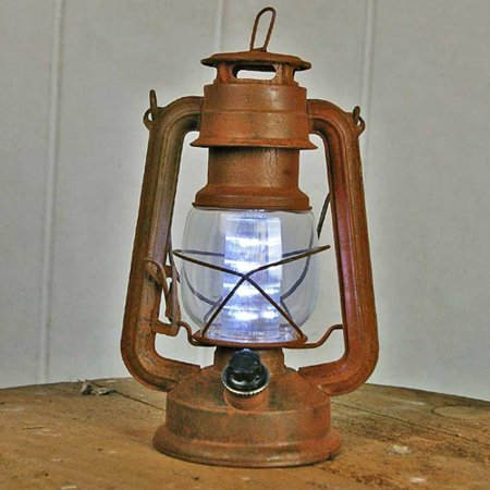 2 Pcs Table Decor Hurricane Lantern Light Antiqued Rusty Metal Battery Operated Led