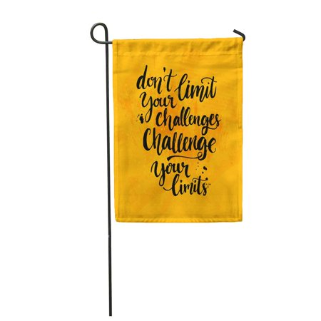 LADDKE Don Limit Your Challenges Inspirational Saying at Yellow Messy Ink Garden Flag Decorative Flag House Banner 12x18 inch