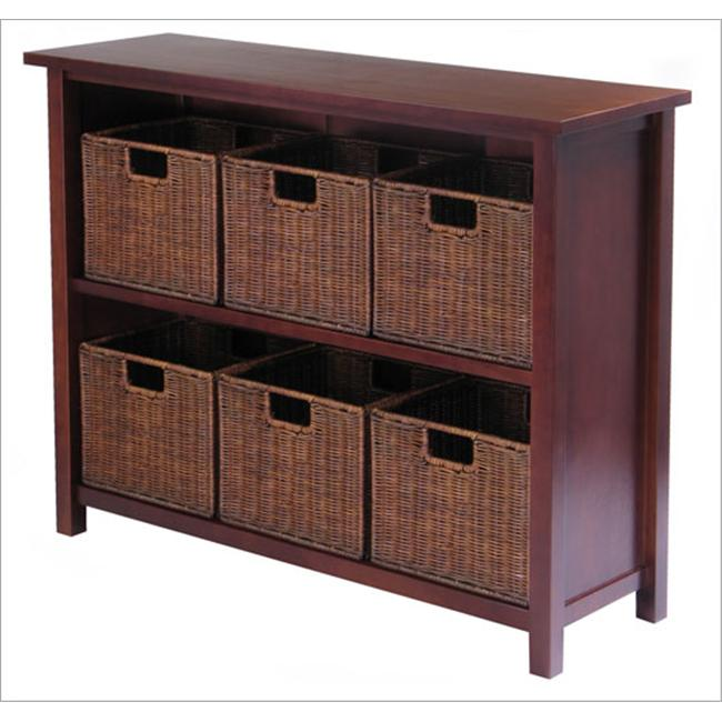 Winsome 94510 Milan 7 Piece Storage Shelf with Baskets - One Cabinet and 6 Small Baskets - Antique Walnut